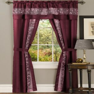 Burgundy Red 5 pc Window Curtains Panels Drapes Pair Valance Set 84 63 in Sheer