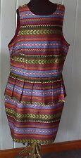 MIKA & GALA sz8 dress aztec pattern jacquard lined pleated peplum zip back NEW