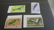 UGANDA 1965 SG 123-126 BIRDS (TOP 4 VALUES)  MNH (V)