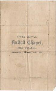 March 1883 Yale College Battell Chapel Praise Service Program