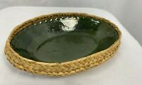 Artisan Pottery Oblong Serving Bowl in a Sweetgrass Basket, Green Glaze