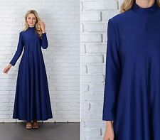 Vintage 70s Navy Blue Maxi Dress A Line Long Sleeve Medium  M boho hippie