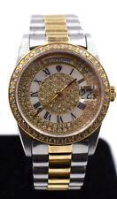 Mens Croton Swiss Movement Automatic 18k Gold Plated Watch  Sapphire Crystal SS