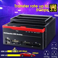 "USB 3.0 SATA HDD IDE Triple Bay 2.5"" 3.5'' Hard Drive Card Docking ABS Station"