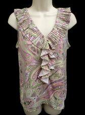 Women's Shirt By Talbots. Size Medium. Pink Green Paisley Design