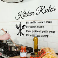 Removable Kitchen Rules Vinyl Wall Stickers Home Decor Lettering Art Quote Decal