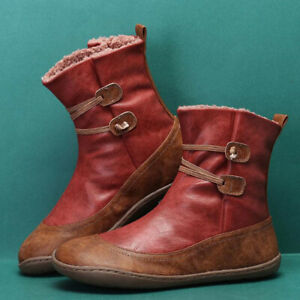 Women Short Ankle Boots Winter Flat Cotton Boots Punk Low-top Single Boot Shoes#