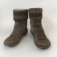Uggs Brown Leather Suede Knit Ankle Pull On Wedge Booties Lined Boots US37 UK4.5