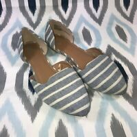 Report Size 8.5 Wide Women's Blue & White Striped Avery D'orsay Flats Shoes