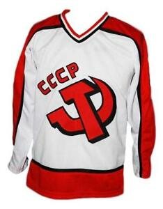 Any Name Number Size Russia CCCP Retro Custom Hockey Jersey White Makarov