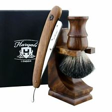 Luxury Wet Shaver Starter Kit, Straight Razor Wood, Badger Brush, Stand + Box