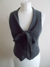 Women's Grey Pinstripe Collared Waistcoat Vest  By Dorothy Perkins Size 10