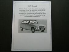 1969 Renault R10, R16 dealer cost/window list sticker $$ for car & options '69