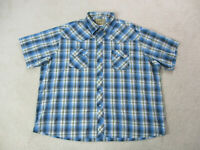 Wrangler Pearl Snap Shirt Adult 3XL XXXL Blue Yellow Black Western Rodeo Cowboy