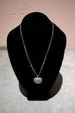 "HEART SHAPED DIAMOND NECKLACE LARGE W/ 18K WG & DIAMOND CHAIN L=17"" 17.4GR"