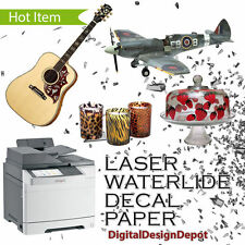 """5 sheets Laser waterslide decal paper CLEAR  8.5"""" x 11"""" :)"""