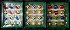 Mini Glass Ball Ornaments Decorated, Snow,Stripe or Gold Swirl Designs