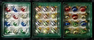 Mini Glass Ball Ornaments Decorated, Snow ,Stripes or Gold Swirl Designs