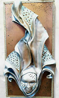 Marea - Quadro in legno artigianale con maschera veneziana in ceramica e cuoio
