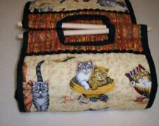 Handcrafted quilted casserole carrier with removable wooden base insert