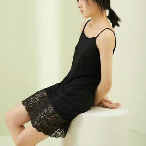Lady Lace Modal Dress Strappy Nightdress Slips Petticoat Slim Soft Strappy Black