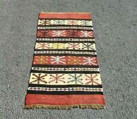 Fertility Motif Embroidered Turkish Vintage Handmade Authentic Kilim Rug 2x4 ft.