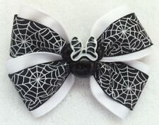 "Girls Hair Bow 4"" Wide Black White Spider Web Minnie Flatback French Barrette"