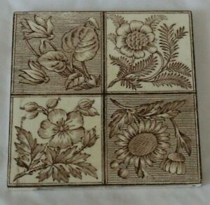 ENGLISH ARTS & CRAFT AESTHETIC FOLIAGE ANTIQUE TILE pretty