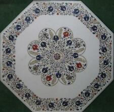 "24"" Marble coffee Table Top Semi Precious Stones Inlaid Floral Work Home decor"