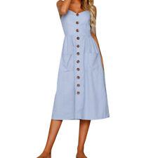 Womens Summer Dress Sexy Straps Bohemian Floral Tunic Dress Pocket Dresses