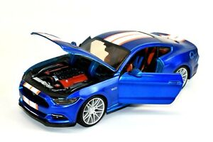 Maisto 2015 Ford Mustang GT 1/24 Scale Diecast Car Blue Orange Rare Color Scheme
