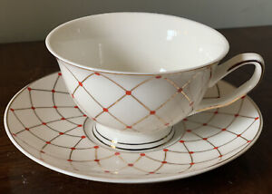 GRACE'S TEAWARE WHITE GOLD CROSSOVER LINES Red POLKA DOTS TEA CUP & SAUCER