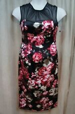 Londont Times Dress Sz 12 Black Red Multi Sleeveless Mesh Cocktail Party Dress