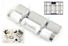 "Pack of 8 Luxury Silver and White 12.5"" Christmas Crackers"