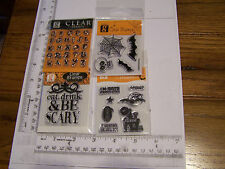 HALLOWEEN ALPHABET SKULL HOUSE BE SCARY  STUDIO G CLEAR RUBBER STAMPS RETIRED