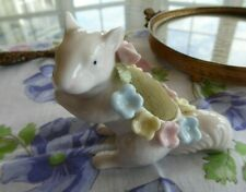 Vintage Ardalt Porcelain Squirrel Pin Cushion With Raised Flowers Japan