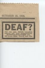 1936 Vintage Hearing Aid Ad Deaf Bone Reception Robson Killgore Company Seattle