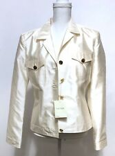 fcc2d764 Escada Women's Cream Jacket Blazer NWT $1250 Sz 38 US 8 Gold Buttons Ivory  Silk