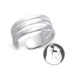 Tjs 925 Sterling Silver Toe Ring Triple Line Band Design Adjustable Jewellery