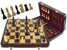 "Rosewood Chess Set Victorian Staunton 3.5"" +Rosewood Folding Chess Board +2 Qns"