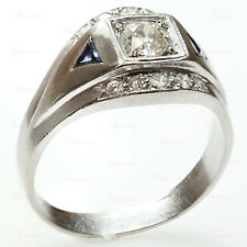 Vintage Retro 14k White Gold Diamond & Blue Sapphire Men's Ring