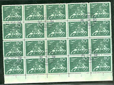 SWEDEN #224 (222) 80ore UPU Block of 20, used, scarce in multiples,