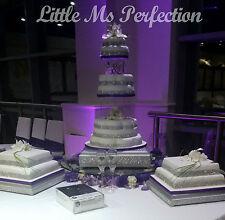 """QUADRATO Argento Effetto Diamante WEDDING Display Supporto per Torta bordo in legno massello 18 """""""