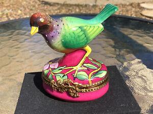 Limoges France Colourful Bird Trinket Pill Box Peint Main GR ~ GERARD RIBIERRE