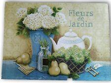 Set 6 Placemats Fleur De Jardin Flower Cottage Farmhouse Cotton Tan Green Blue