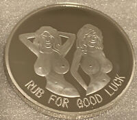 "* Rub For Good Luck- Bottoms Up"" Adult Novelty Coin. Brand New Silver Finish."