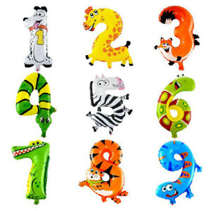 ANIMALS BALOON NUMBER FOIL BALLOONS KIDS PARTY BIRTHDAY WEDDING DECOR DELICATE