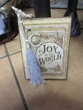 New lovely Victorian Mini notebook Christmas tree ornament gold/white ,tassel #2
