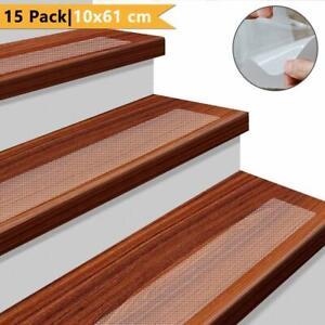 "15-Pack Non Slip Stair Treads Anti Slip Clear Tape Adhesive Stair Mat 24"" x 4"""