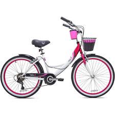 """Womens Beach Cruiser Bike 24"""" Girls Bicycle 7-Speed Vintage Basket White Kent"""
